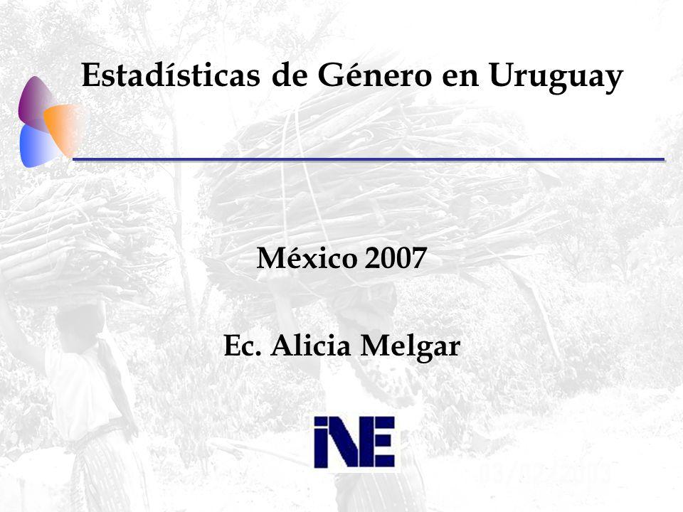 Estadísticas de Género en Uruguay México 2007 Ec. Alicia Melgar