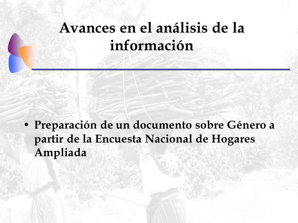 Avances en el análisis de la información Preparación de un documento sobre Género a partir de la Encuesta Nacional de Hogares Ampliada