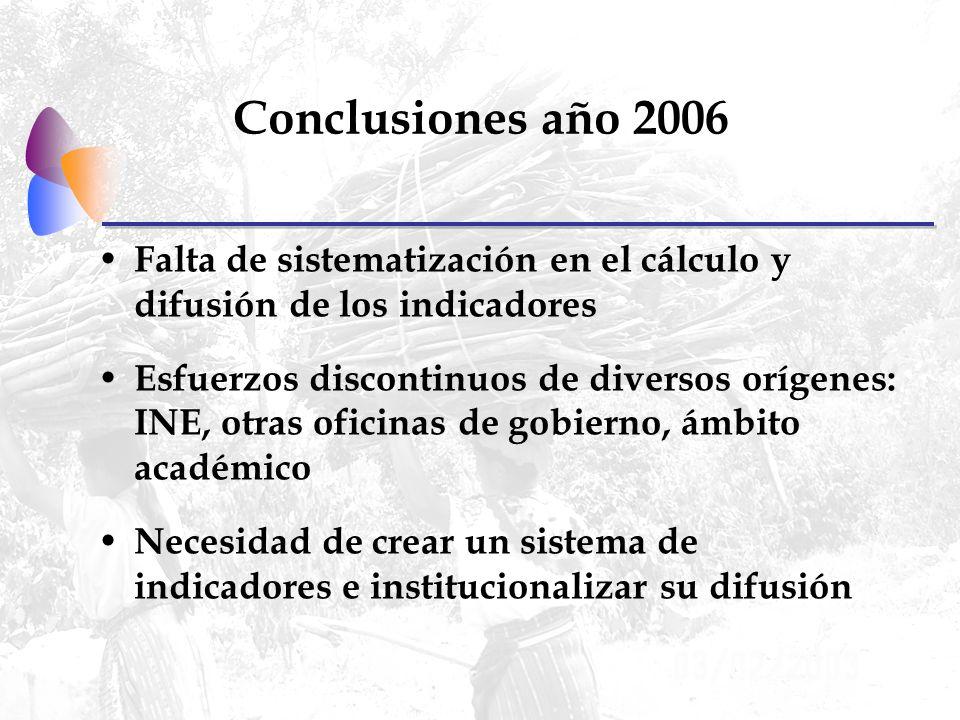 Conclusiones año 2006 Falta de sistematización en el cálculo y difusión de los indicadores Esfuerzos discontinuos de diversos orígenes: INE, otras oficinas de gobierno, ámbito académico Necesidad de crear un sistema de indicadores e institucionalizar su difusión