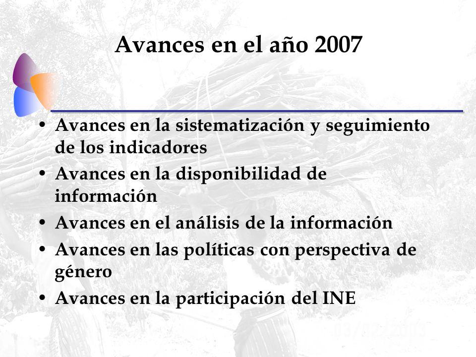 Avances en la participación del INE Proyectos del INE para el 2007: – Capacitación – Encuesta de protección social – Encuesta sobre uso del tiempo y trabajo no remunerado