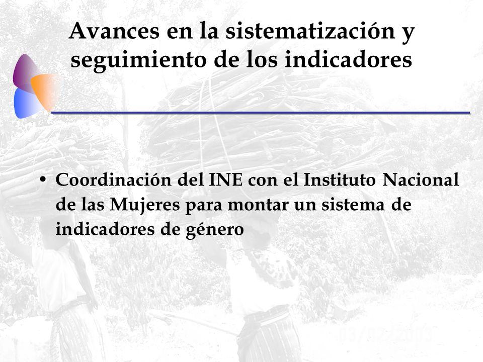 Avances en la sistematización y seguimiento de los indicadores Coordinación del INE con el Instituto Nacional de las Mujeres para montar un sistema de indicadores de género