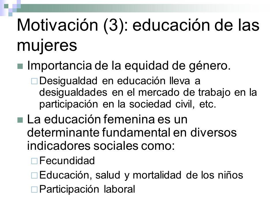 Motivación(4) La brecha de género en escolaridad A menos que se pueda cerrar la brecha en educación, las mejoras deseadas en los indicadores sociales sólo se pueden lograr a niveles de crecimiento económico mucho más elevado (King y Hill (1993)).