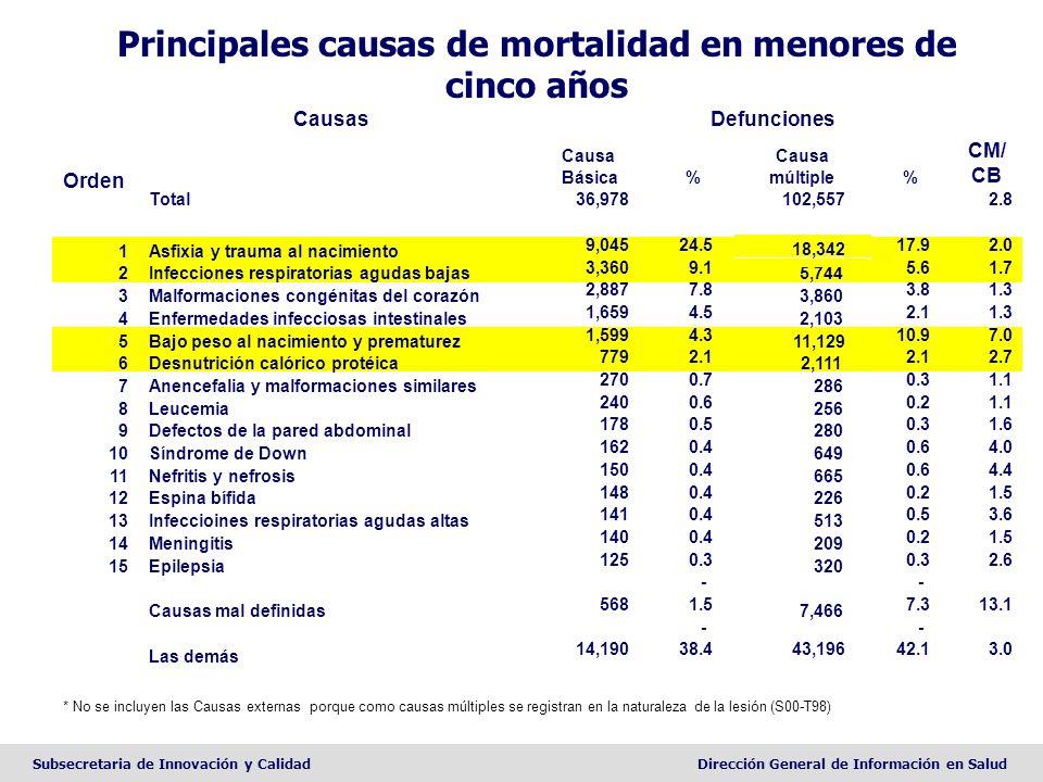 Subsecretaria de Innovación y CalidadDirección General de Información en Salud * No se incluyen las Causas externas porque como causas múltiples se re