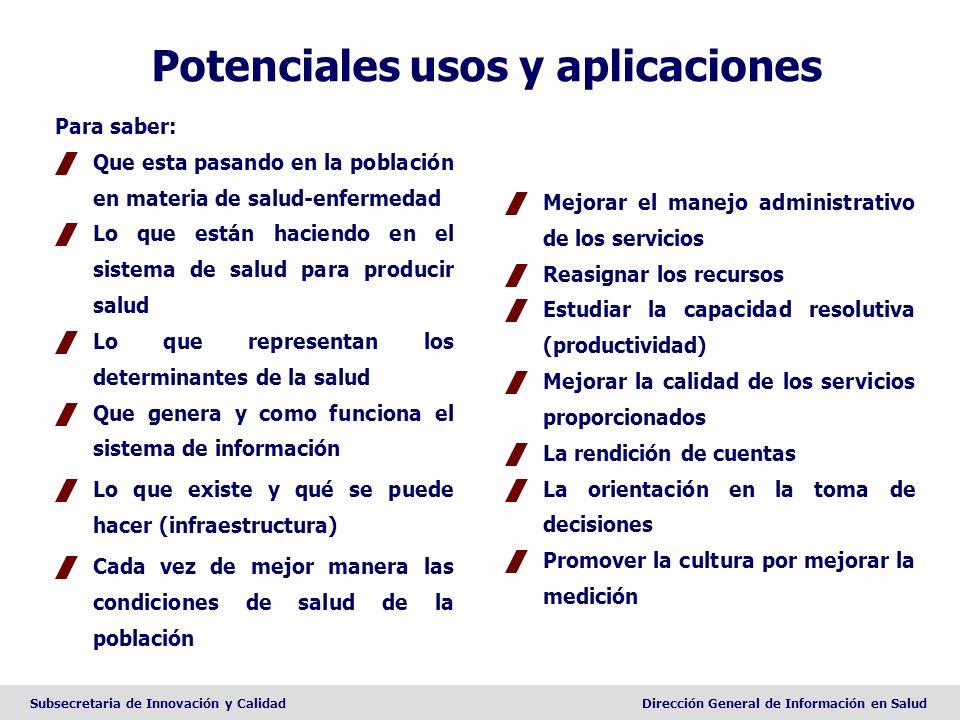 Subsecretaria de Innovación y CalidadDirección General de Información en Salud Potenciales usos y aplicaciones Mejorar el manejo administrativo de los