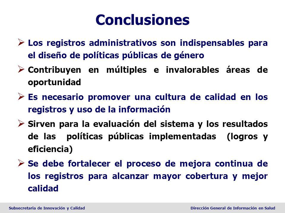 Subsecretaria de Innovación y CalidadDirección General de Información en Salud Conclusiones Los registros administrativos son indispensables para el d
