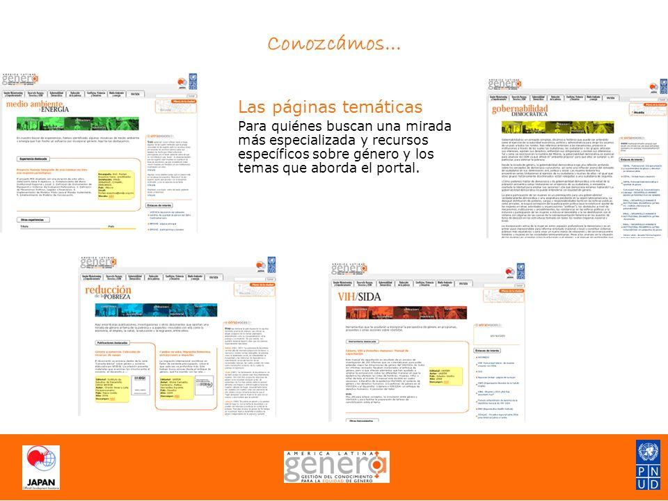 Las páginas temáticas Para quiénes buscan una mirada más especializada y recursos específicos sobre género y los temas que aborda el portal.