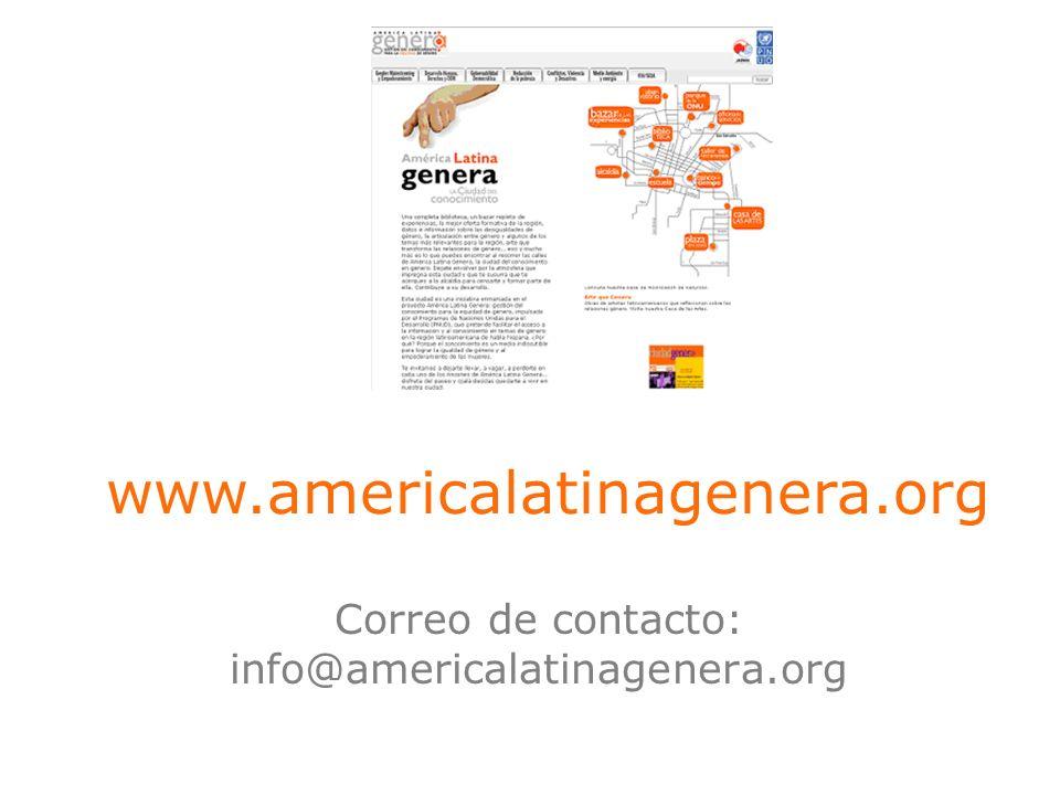 Correo de contacto: info@americalatinagenera.org www.americalatinagenera.org