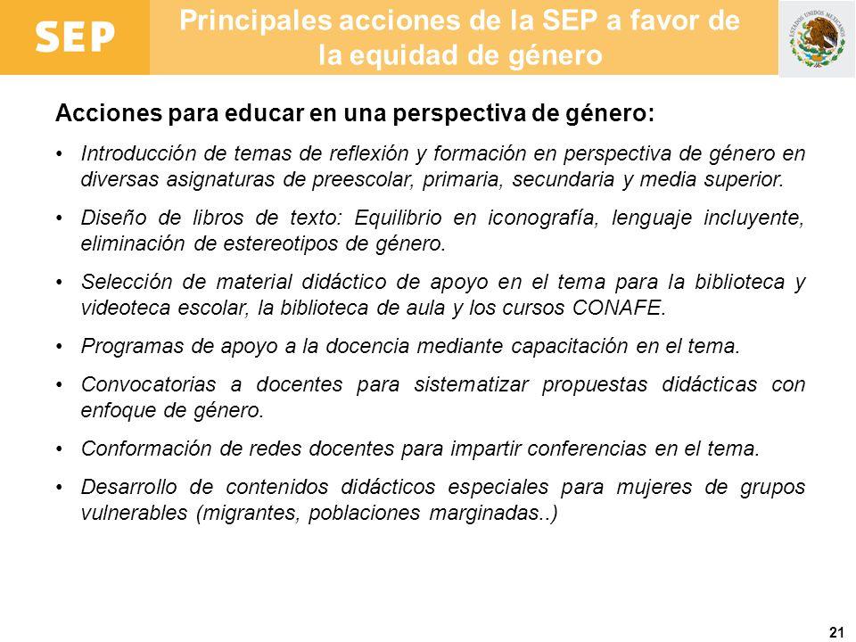 21 Principales acciones de la SEP a favor de la equidad de género Acciones para educar en una perspectiva de género: Introducción de temas de reflexió
