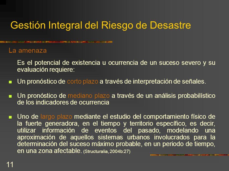 11 Gestión Integral del Riesgo de Desastre La amenaza Es el potencial de existencia u ocurrencia de un suceso severo y su evaluación requiere: Un pron