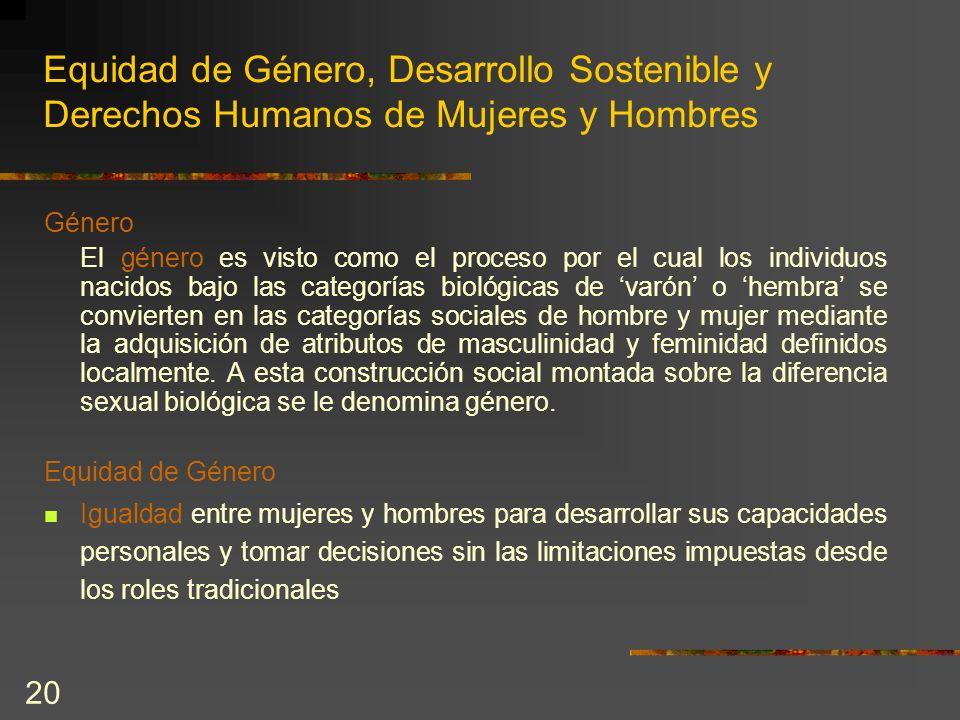 20 Equidad de Género, Desarrollo Sostenible y Derechos Humanos de Mujeres y Hombres Género El género es visto como el proceso por el cual los individu
