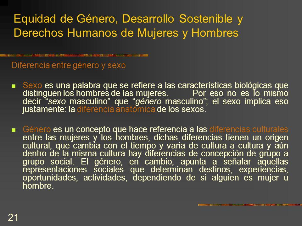 21 Equidad de Género, Desarrollo Sostenible y Derechos Humanos de Mujeres y Hombres Diferencia entre género y sexo Sexo es una palabra que se refiere