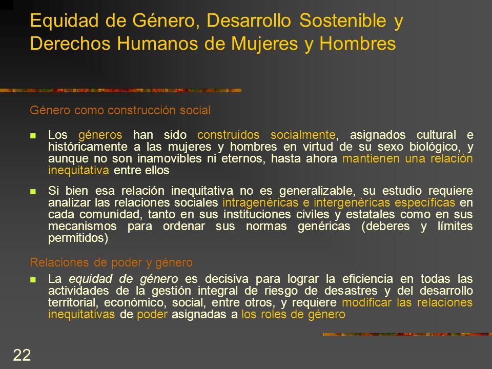 22 Equidad de Género, Desarrollo Sostenible y Derechos Humanos de Mujeres y Hombres Género como construcción social Los géneros han sido construidos s