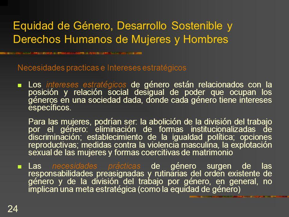 24 Equidad de Género, Desarrollo Sostenible y Derechos Humanos de Mujeres y Hombres Necesidades practicas e Intereses estratégicos Los intereses estra