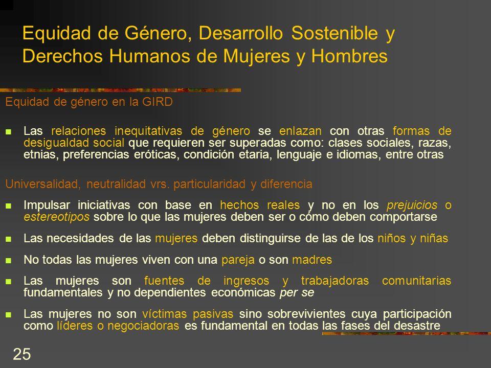 25 Equidad de Género, Desarrollo Sostenible y Derechos Humanos de Mujeres y Hombres Equidad de género en la GIRD Las relaciones inequitativas de géner
