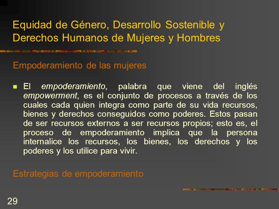 29 Equidad de Género, Desarrollo Sostenible y Derechos Humanos de Mujeres y Hombres Empoderamiento de las mujeres El empoderamiento, palabra que viene