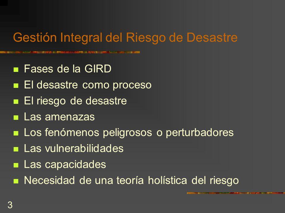3 Gestión Integral del Riesgo de Desastre Fases de la GIRD El desastre como proceso El riesgo de desastre Las amenazas Los fenómenos peligrosos o pert