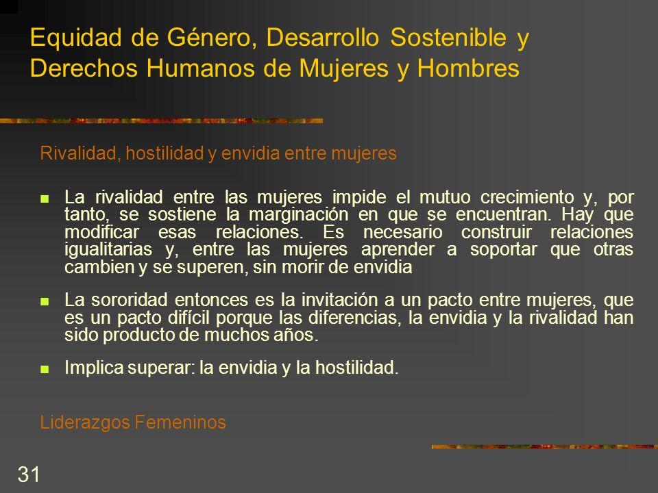 31 Equidad de Género, Desarrollo Sostenible y Derechos Humanos de Mujeres y Hombres Rivalidad, hostilidad y envidia entre mujeres La rivalidad entre l