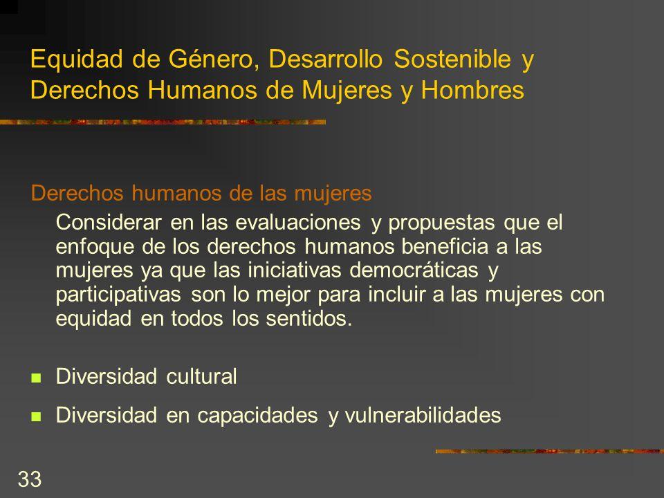 33 Equidad de Género, Desarrollo Sostenible y Derechos Humanos de Mujeres y Hombres Derechos humanos de las mujeres Considerar en las evaluaciones y p