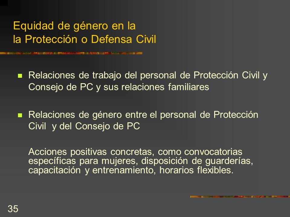 35 Equidad de género en la la Protección o Defensa Civil Relaciones de trabajo del personal de Protección Civil y Consejo de PC y sus relaciones famil