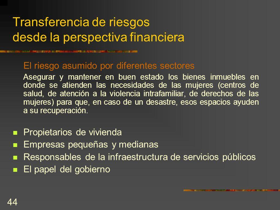 44 Transferencia de riesgos desde la perspectiva financiera El riesgo asumido por diferentes sectores Asegurar y mantener en buen estado los bienes in