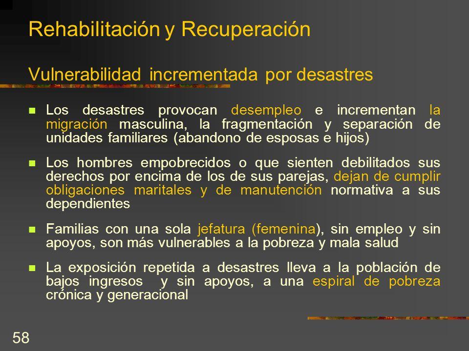 58 Rehabilitación y Recuperación Vulnerabilidad incrementada por desastres Los desastres provocan desempleo e incrementan la migración masculina, la f