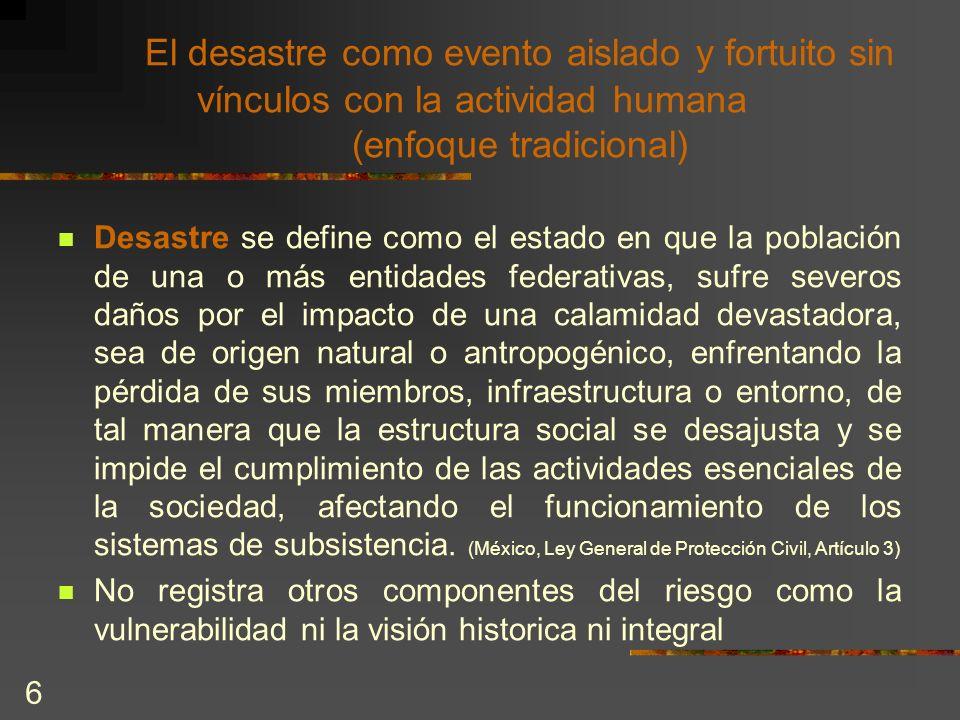 6 El desastre como evento aislado y fortuito sin vínculos con la actividad humana (enfoque tradicional) Desastre se define como el estado en que la po