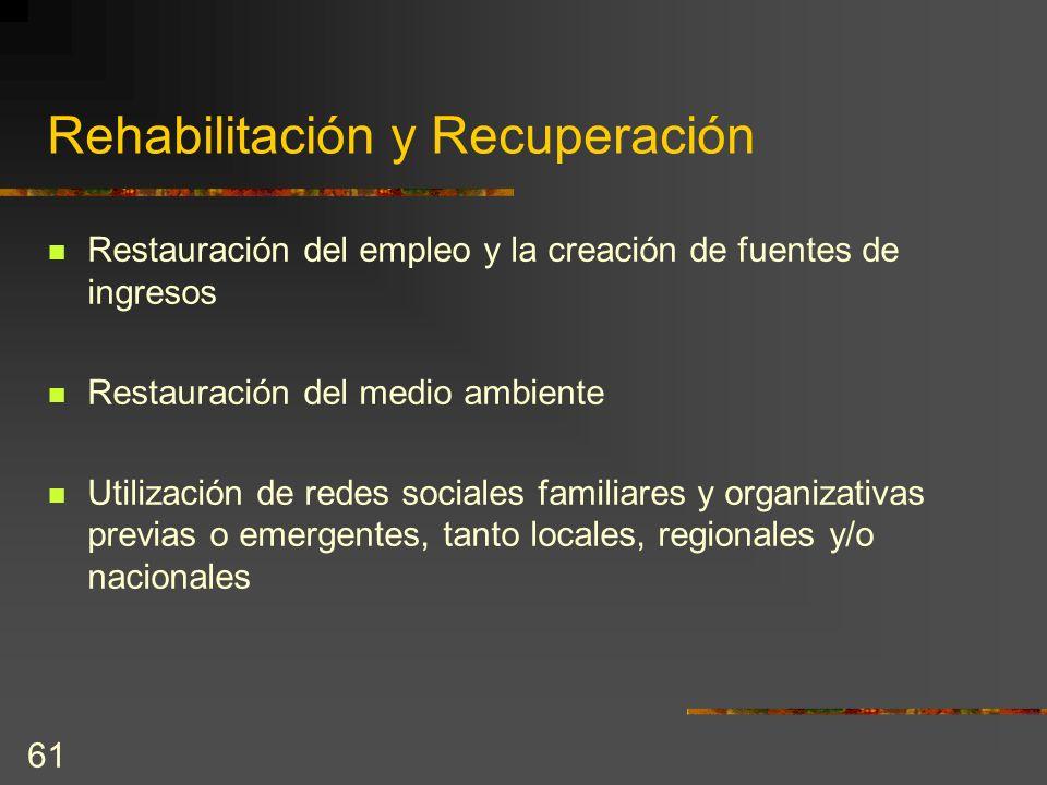 61 Rehabilitación y Recuperación Restauración del empleo y la creación de fuentes de ingresos Restauración del medio ambiente Utilización de redes soc