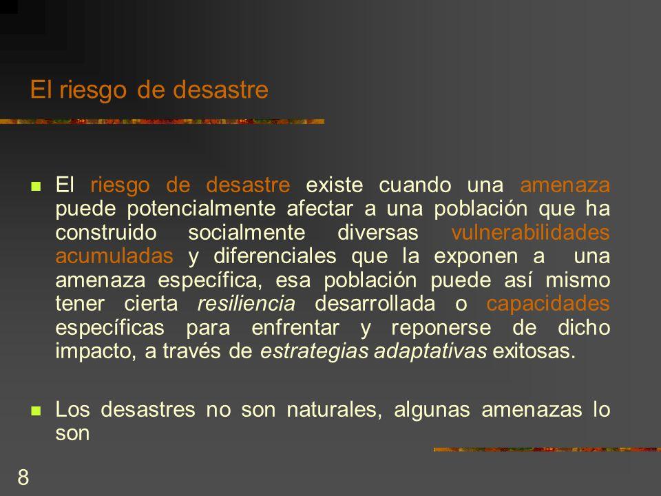 8 El riesgo de desastre El riesgo de desastre existe cuando una amenaza puede potencialmente afectar a una población que ha construido socialmente div