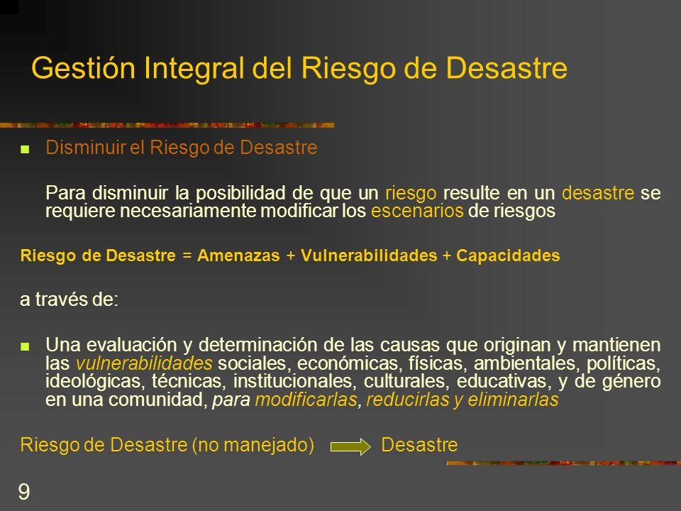 9 Gestión Integral del Riesgo de Desastre Disminuir el Riesgo de Desastre Para disminuir la posibilidad de que un riesgo resulte en un desastre se req