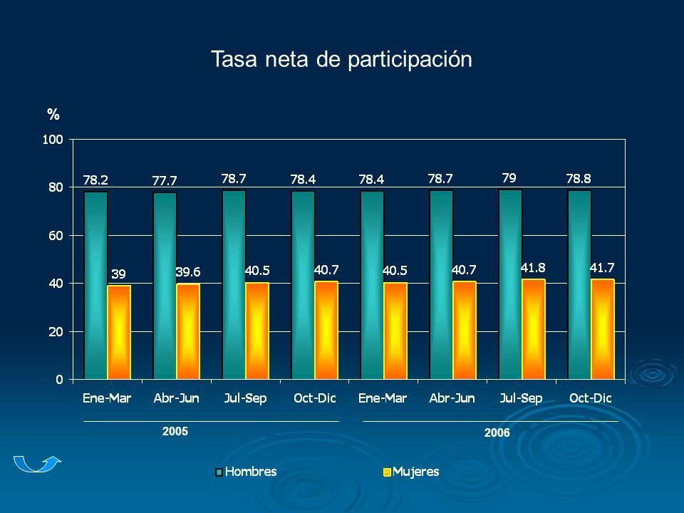 Tasa neta de participación 2005 2006 %