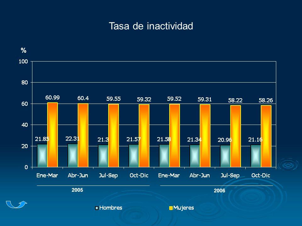 Tasa de inactividad 2005 2006 %