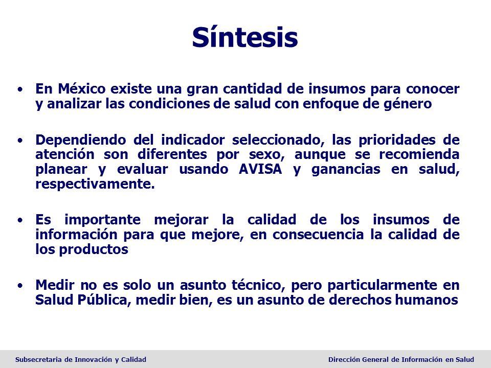 Subsecretaria de Innovación y CalidadDirección General de Información en Salud Síntesis En México existe una gran cantidad de insumos para conocer y a