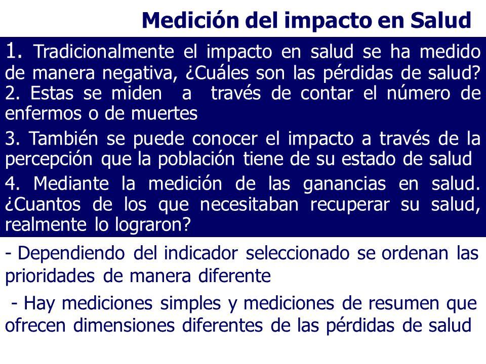 Medición del impacto en Salud - Dependiendo del indicador seleccionado se ordenan las prioridades de manera diferente - Hay mediciones simples y medic