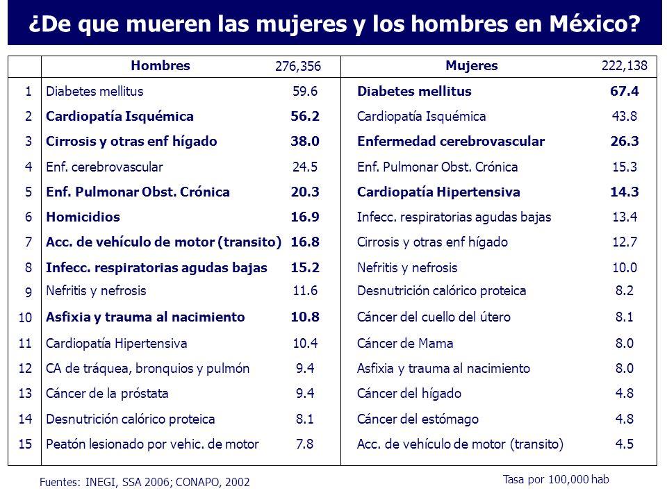 Distribución de las defunciones por sexo y grandes grupos de causas, México 2005 No TransmisiblesTransmisibles, de la Reproducción, y de la Nutrición Lesiones accidentales e intencionales Mujeres (45%)Hombres (55%) 80% 15% 5% 71% 14% 15% El riesgo de morir por grandes grupos de causas entre mujeres y hombres solo es estadísticamente diferente en el caso de las lesiones