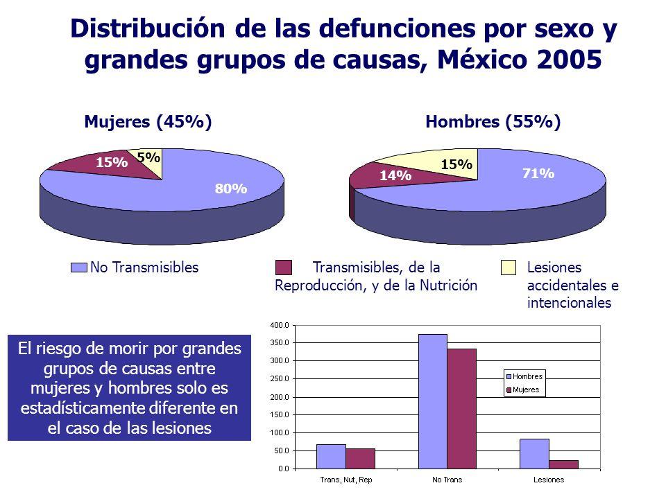 Distribución de las defunciones por sexo y grandes grupos de causas, México 2005 No TransmisiblesTransmisibles, de la Reproducción, y de la Nutrición