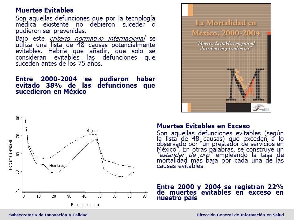 Muertes Evitables en Exceso (2000-2004) MujeresHombres % Total 1Afecc originadas en el período perinatal14.1Cirrosis hepática20.0 2Cardiopatía isquémica10.8Cardiopatía isquémica12.1 3Cirrosis hepática7.6Afecc originadas en el período perinatal11.9 4Cáncer de mama5.6Accidentes de vehículo de motor8.5 5Infecciones respiratorias bajas4.4VIH/SIDA4.4 6Cáncer cervicouterino4.4Infecciones respiratorias bajas4.0 7Enf.