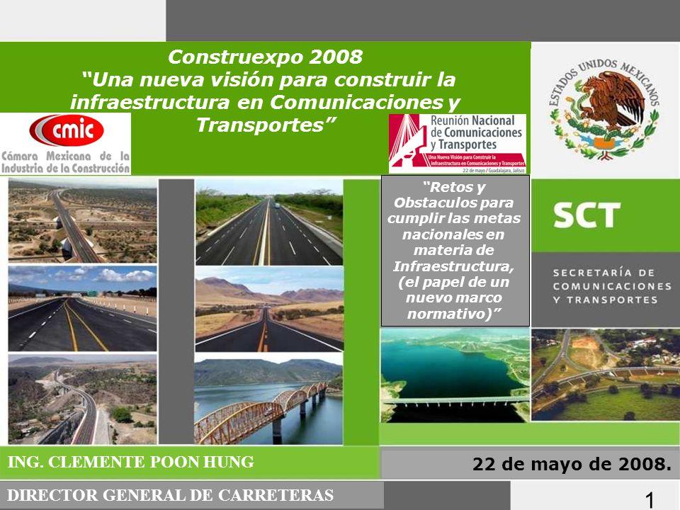 PROGRAMA NACIONAL DE INFRAESTRUCTURA 2007-2012: SECTOR CARRETERO 25 de abril de 2008 Retos y Obstaculos para cumplir las metas nacionales en materia d