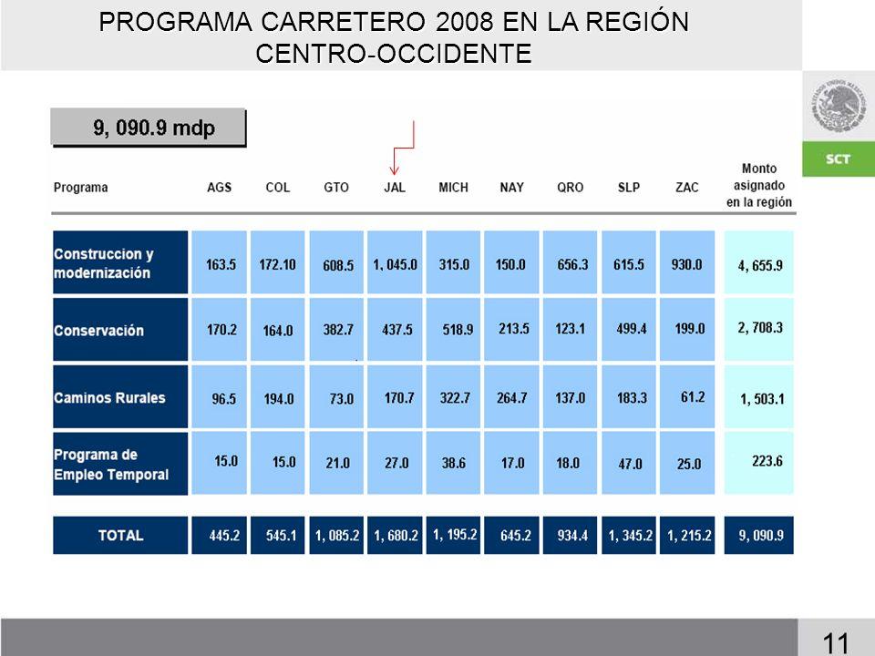 PROGRAMA CARRETERO 2008 EN LA REGIÓN CENTRO-OCCIDENTE 11