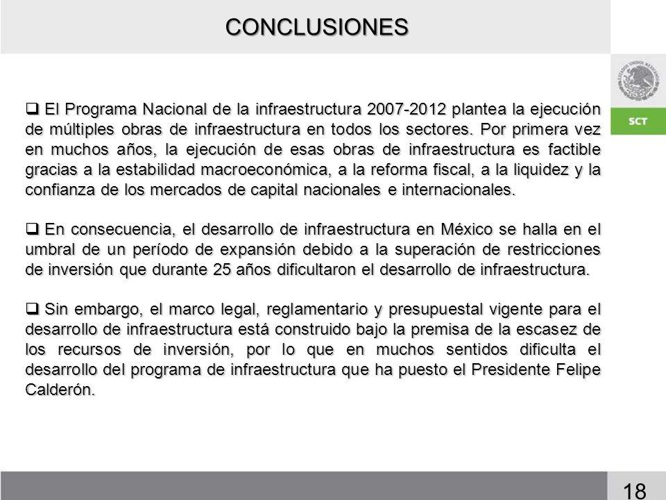 18 El Programa Nacional de la infraestructura 2007-2012 plantea la ejecución de múltiples obras de infraestructura en todos los sectores. Por primera