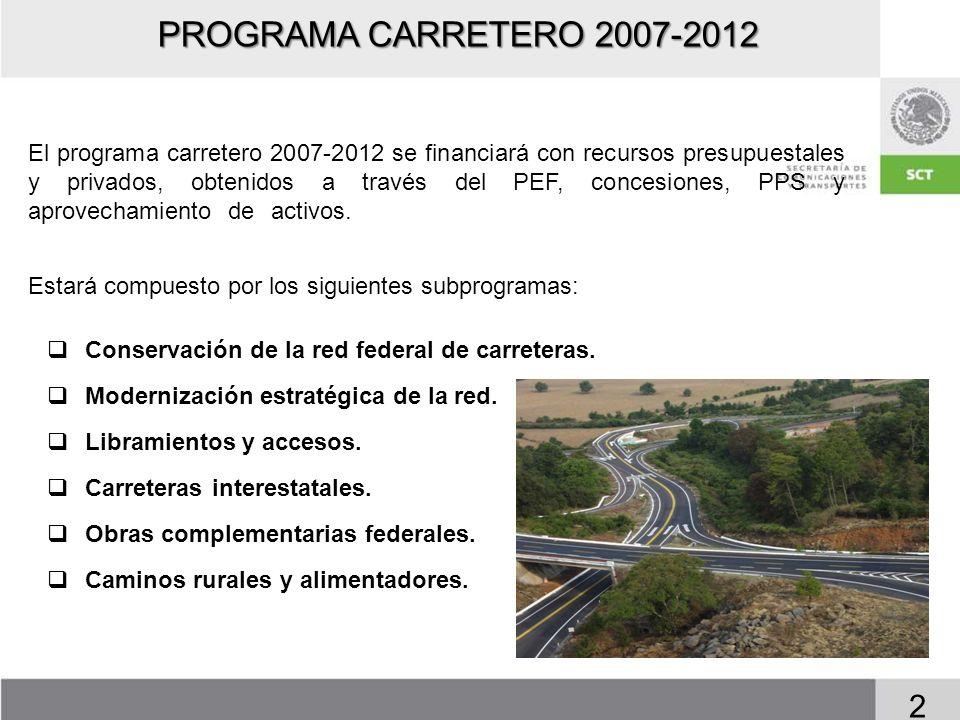 PROGRAMA CARRETERO 2007-2012 El programa carretero 2007-2012 se financiará con recursos presupuestales y privados, obtenidos a través del PEF, concesi