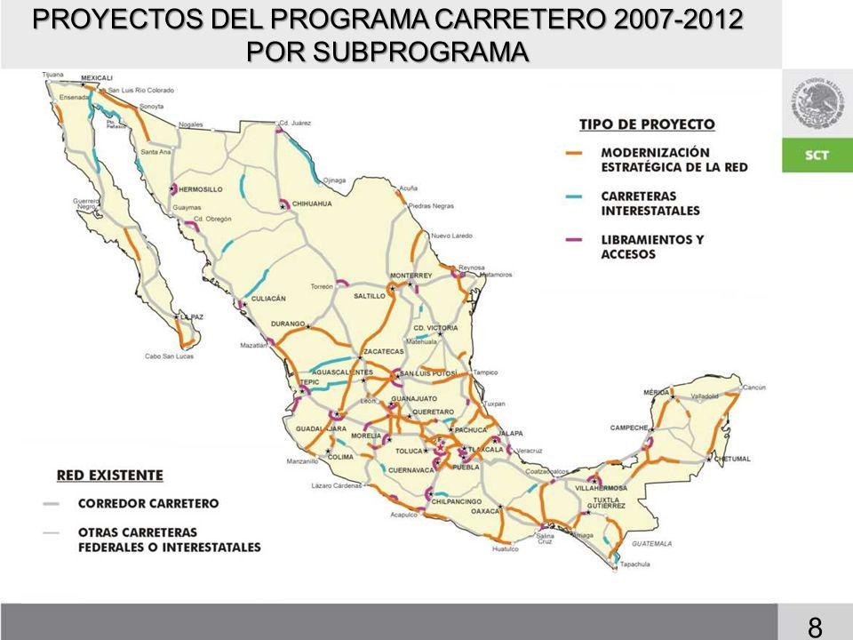 RESULTADOS ESPERADOS Poner en servicio 100 proyectos de carreteras completas, incluyendo: Poner en servicio 100 proyectos de carreteras completas, incluyendo: Elevar la calidad del gasto público destinado a carreteras.