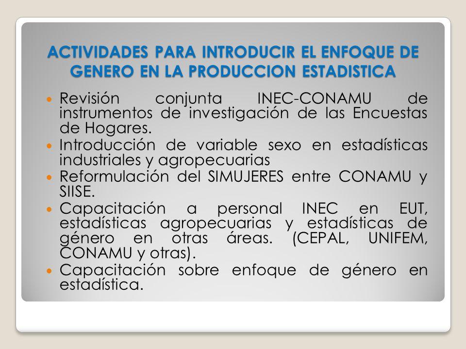 ACTIVIDADES PARA INTRODUCIR EL ENFOQUE DE GENERO EN LA PRODUCCION ESTADISTICA Revisión conjunta INEC-CONAMU de instrumentos de investigación de las En