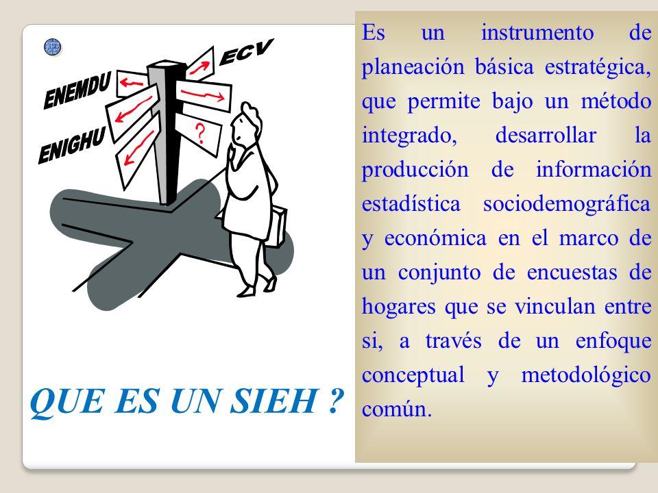 QUE ES UN SIEH ? Es un instrumento de planeación básica estratégica, que permite bajo un método integrado, desarrollar la producción de información es