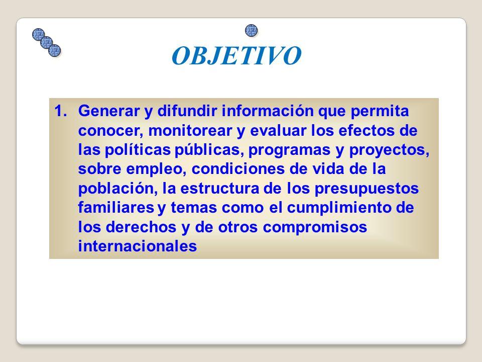 1.Generar y difundir información que permita conocer, monitorear y evaluar los efectos de las políticas públicas, programas y proyectos, sobre empleo,
