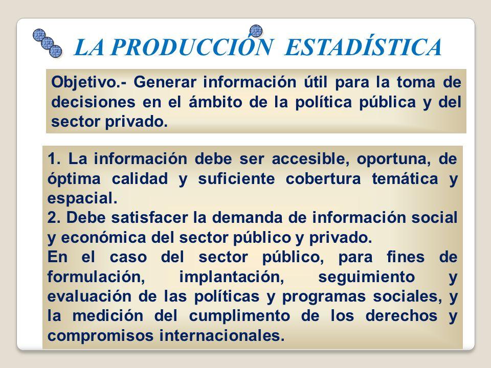 Objetivo.- Generar información útil para la toma de decisiones en el ámbito de la política pública y del sector privado. LA PRODUCCIÓN ESTADÍSTICA 1.