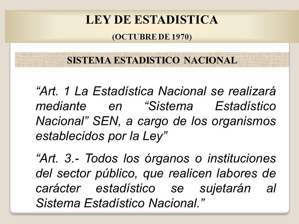 LEY DE ESTADISTICA (OCTUBRE DE 1970) SISTEMA ESTADISTICO NACIONAL Art. 1 La Estadística Nacional se realizará mediante en Sistema Estadístico Nacional
