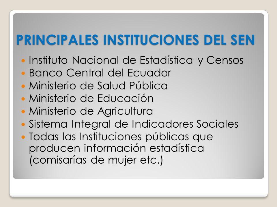 PRINCIPALES INSTITUCIONES DEL SEN Instituto Nacional de Estadística y Censos Banco Central del Ecuador Ministerio de Salud Pública Ministerio de Educa