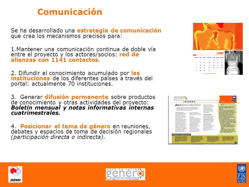Comunicación Se ha desarrollado una estrategia de comunicación que crea los mecanismos precisos para: 1.Mantener una comunicación continua de doble vía entre el proyecto y los actores/socios: red de alianzas con 1141 contactos.