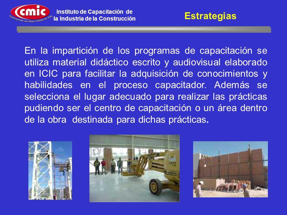 Instituto de Capacitación de la Industria de la Construcción En la impartición de los programas de capacitación se utiliza material didáctico escrito