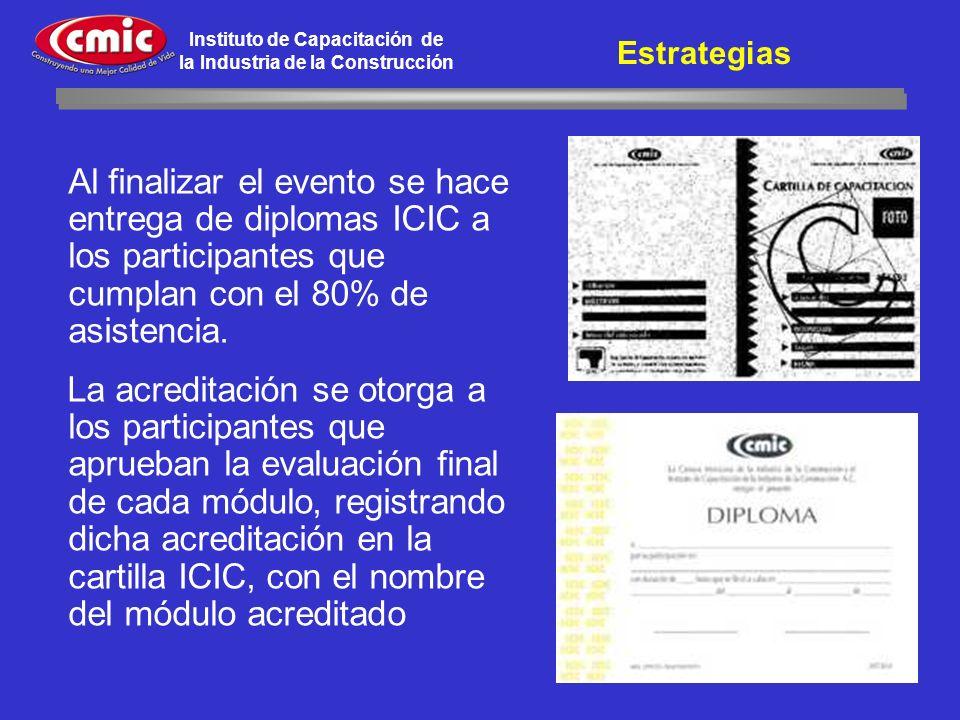 Instituto de Capacitación de la Industria de la Construcción Al finalizar el evento se hace entrega de diplomas ICIC a los participantes que cumplan c